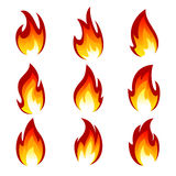 Set of flame. Flames of different shapes on a white background Stock Images