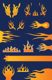Set of 13 Flame Design Elements. Vector illustrations of hot-rod style flame designs Royalty Free Stock Image