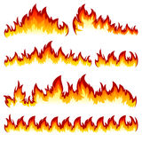 Set of flame. Flames of different shapes on a white background Stock Photography