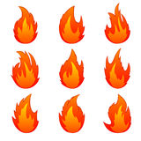 Set of flame. Flames of different shapes on a white background Stock Photos