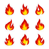 Set of flame icons. Fire flame icon  illustration Royalty Free Stock Image