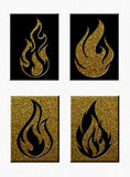 Set of Flame Silhouettes on Raised Blocks. A set of four flame silhouettes: two black on gold glitter backgrounds and two gold glitter on black backgrounds Stock Images