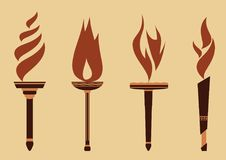 Set of Flame Torch Icons Royalty Free Stock Images