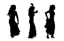 Set of flamenco dancer silhouettes. 3 black silhouettes of female flamenco dancers in motion Vector Illustration