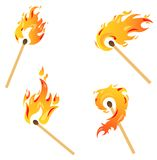 Set of flames. Set of fire flames isolated on white Stock Photos