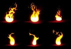 Set of flames Stock Photos