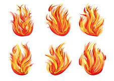 Set of flames Royalty Free Stock Images