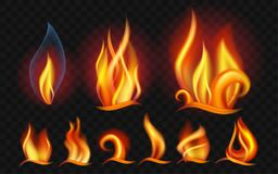 Set of flames - modern vector realistic isolated clip art. On transparent background. Burning big,small orange, yellow, red fires of different shapes and forms Stock Image