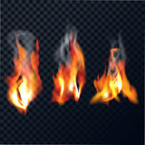 Set of flames. With smoke on a transparent background. The realistic bright fire . Vector illustration Royalty Free Stock Images