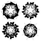 Set of Flaming Stars on decoration  Royalty Free Stock Images