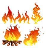 Set Flammen Stockfoto