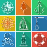 Set of flan nautical icons vector illustration