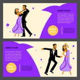 Set of flares with Happy young dancers royalty free illustration