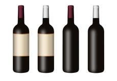 Set Flaschen für Wein Lizenzfreies Stockfoto