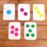 A set of flash cards to teach number and colors. Early child development Stock Image