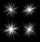 Set of flash, glare elements. Radial burst lines. 4 variation. Royalty Free Stock Images