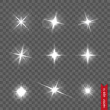 Set of flash lights and shiny glitter Stock Image