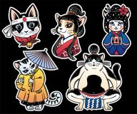 Set of flash style Japanese Cat patches, stickers. stock image