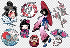 Set of flash style Japanese patches, stickers. Royalty Free Stock Photos