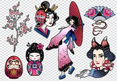 Set of flash style Japanese patches, stickers. Royalty Free Stock Photography