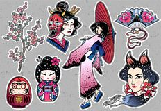 Set of flash style Japanese patches, stickers. Stock Photos