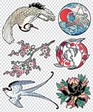 Set of flash style Japanese patches, stickers. Royalty Free Stock Image