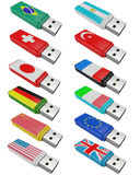 Set flash USB isolated Royalty Free Stock Photography