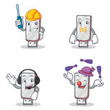 Set of flashdisk character with automotive silent headphone juggling Stock Image