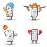 Set of flashdisk character with baseball cowboy basketball boxing Stock Photos