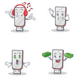 Set of flashdisk character with listening music call me money eye Royalty Free Stock Image