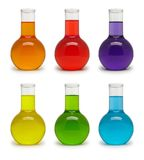 Set of flasks with colored liquid. Royalty Free Stock Images