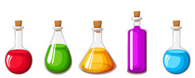Set of flasks with colorful liquids. Vector illustration. Stock Images