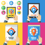 Set of flat abstract travel icons and backgrounds. Royalty Free Stock Photography