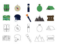 Set of flat adventure traveling icons. Camping. Elements. Flat and thin line design. Outdoor activity style. Hiking, backpacking and mountain tourism. Vector Stock Photo