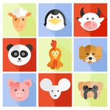 Set of flat animal. And bird face icons in bright retro colors stock illustration