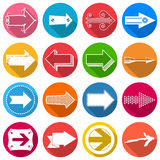 Set of flat arrow icons with long shadow Royalty Free Stock Images