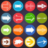 Set of flat arrow icons Stock Photography