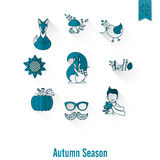 Set of Flat Autumn Icons Stock Photography