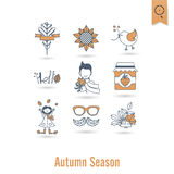 Set of Flat Autumn Icons Royalty Free Stock Photo