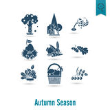 Set of Flat Autumn Icons Stock Photo