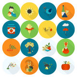 Set of Flat Autumn Icons Stock Photos