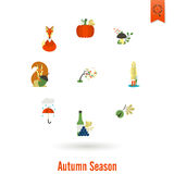 Set of Flat Autumn Icons Stock Image