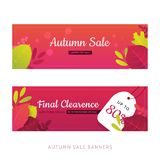 Set of flat autumn leaves banners with gradient on red background. Seasonal promotion with white tag.  stock illustration