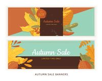 Set of flat autumn leaves banners with grunge labels on dark background. Seasonal promotion.  royalty free illustration