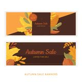 Set of flat autumn leaves banners with grunge labels on dark background. Seasonal promotion.  vector illustration