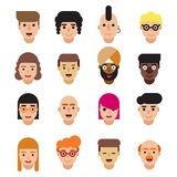 Set of 16 flat avatars icons. Male and female characters different ages, professions and nationalities. Modern flat Stock Image