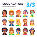 Set of flat avatars. Part 3. See also other parts. Set of cool avatars. Different skin tones, clothes and hair styles. Modern and simple flat cartoon style Royalty Free Stock Photography