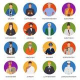 People From World Religions Flat Avatars. Set of flat avatars of people from world religions including shinto, christianity, voodoo, judaism  vector illustration Stock Photos