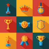 Set of flat awards icons Stock Photo