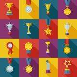 Set of flat awards icons Stock Photography